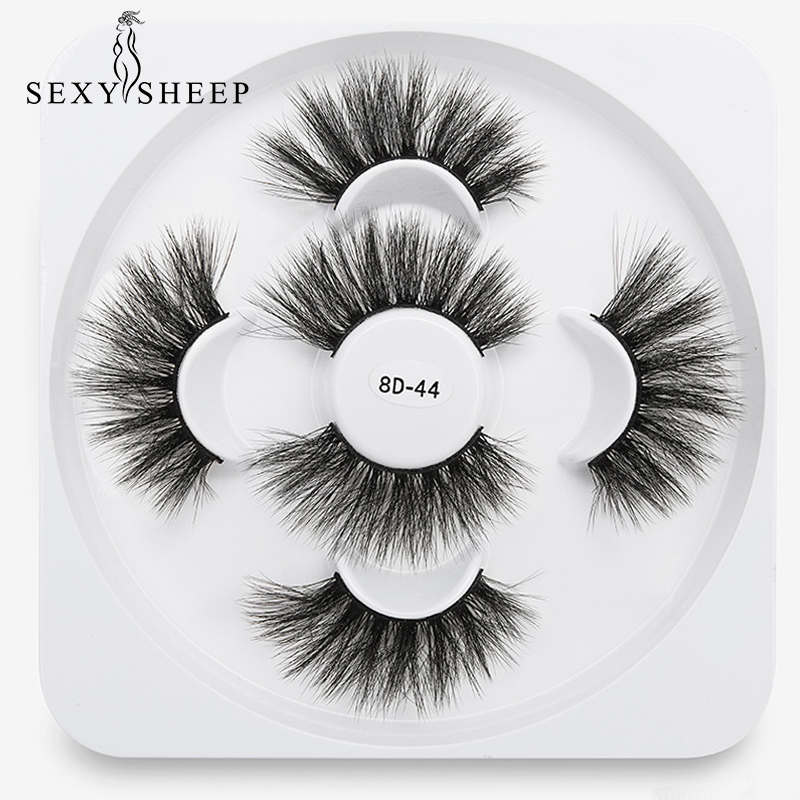 SEXYSHEEP 3Pairs 25mm 8D Faux Mink Hair False Eyelashes Natural/Thick Long Eye Lashes Wispy Makeup Beauty Extension Tools