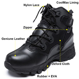 Image 2 - Military Combat Boots For Men Desert Genuine Leather Tactical Army Ankle Boots Casual Breathable Zipper Man Safety Working Shoes