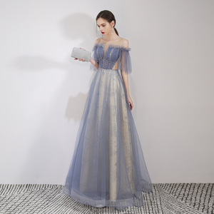 Image 3 - יופי אמילי סקופ שרוולים ערב שמלות 2019 מקסים תחרה למעלה חזור Robe דה Soiree שמפניה ארוך שמלת ערב