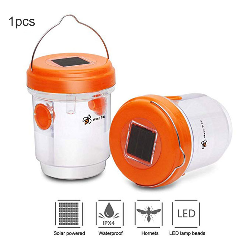 1/2 Pcs Solar Powered Wasp Trap with UV LED Light Reusable Outdoor Bees Fly Bugs Catcher Killer 66CY title=