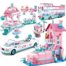Friends Pink House City Bus Race Car Building Block Princess Prince  Wedding Sets Romantic Amusement Park Brick Toys for Girls