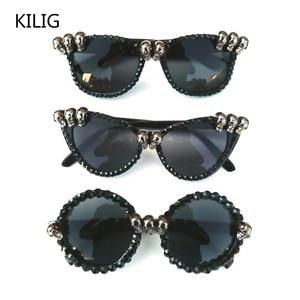 Black Skull Rhinestone Halloween Sunglasses Gorgeous Cat Eye Glasses women Round Gothic Shades Party Festival Hip Hop Style(China)
