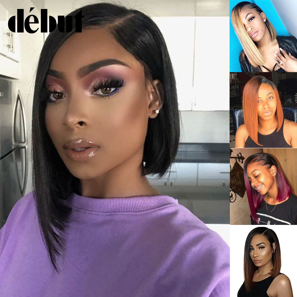 Debut Pink Ombre Dropping Bob Human Hair Wigs TT1B/27 Brazilian Straight Remy Human Hair Part Lace Wig With Lace Front Black Wig