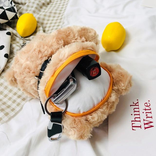 Mignon ours en peluche sac à bandoulière fille Cusual fourrure sacs à bandoulière mode femmes chaîne sac de messager Style coréen japonais