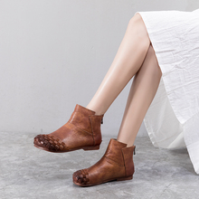 Anance 2020 spring new female casual shoes literary retro Roman handmade leather women boots comfortable flat bottom women shoes roman literary culture