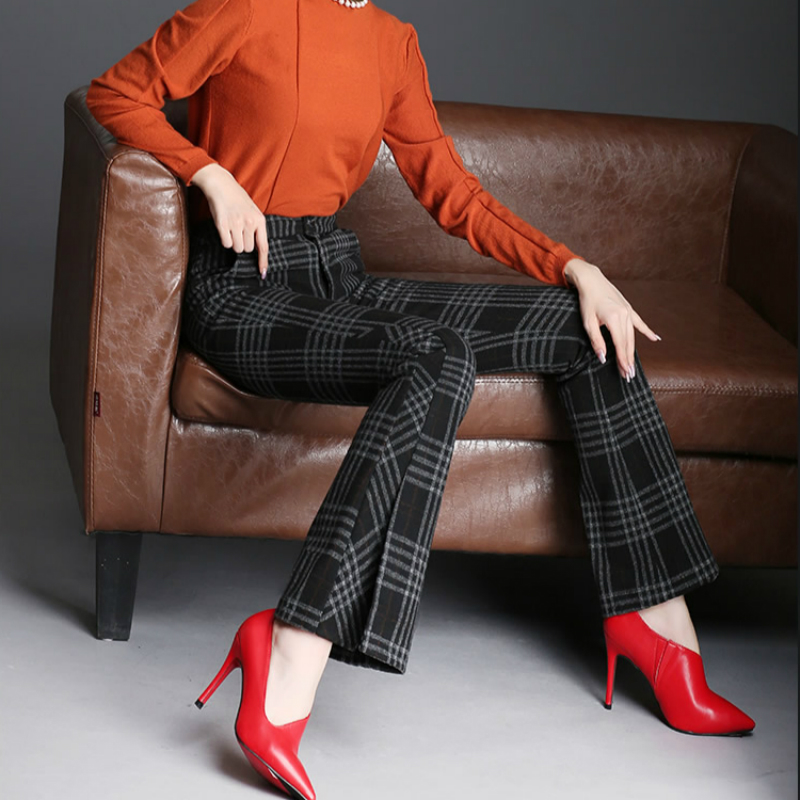 2019 new winter office lady plus size thick snow wear female women girls brand plaid flare pants clothing