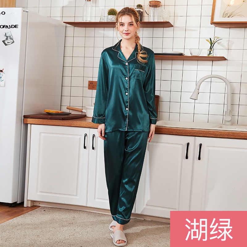 Nuevo pijama de dormir sedoso de verano para mujer, pantalones de camisa, juego de ropa de dormir de seda de imitación, conjuntos de ropa de dormir Casual para el hogar, bata de baño