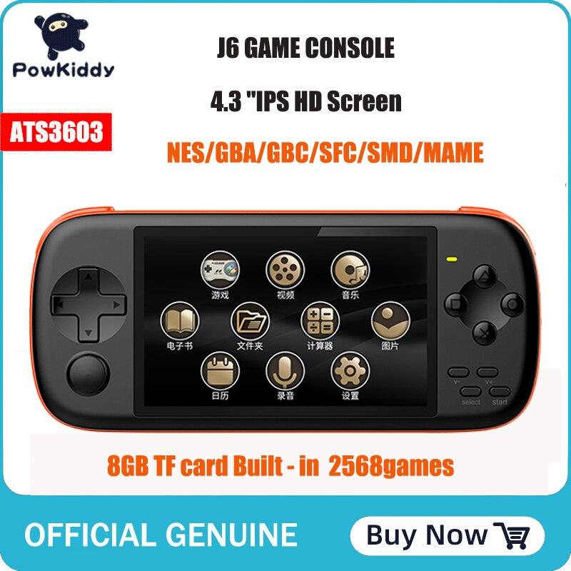 POWKIDDY J6 портативная игровая консоль 4,3 дюйма IPS HD экран 1000 мА 8 Гб симулятор Аркады mame встроенный 2568 игры детские Gif