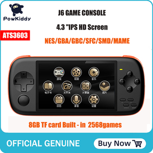 POWKIDDY J6 handheld game console 4.3 inch IPS HD screen 1000 mA 8GB simulator arcade mame Built - in 2568 games Children's Gif