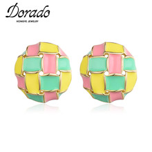 Dorado Cute Colorful Lacquer Round Button Stud Earring for Women Girls Prom Fashion Daily Gifts Jewelry Brincos 2020 Wholesale fashion crystal round hoop earring hip hop punk stud earring for women gold color colorful jewelry gifts wholesale