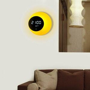 Image 5 - Réveil numérique à Led multifonction, veilleuse, affichage de la température, détection tactile de la température, recharge par USB, lampe de Table, cadeau de vacances