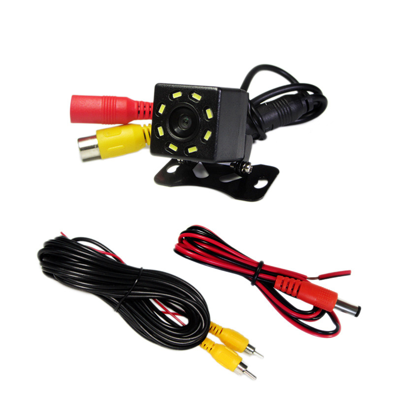 LED Rearview Camera High-definition Night Vision Waterproof Car Reversing Camera Rear View Plug-Wide-angle 8 Lamp