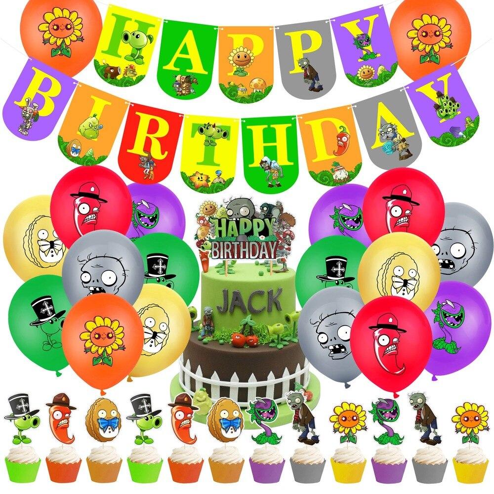 Col-вечерние с изображением героев «Plants VS Zombies вечерние латексных воздушных шаров с набор тема вставка для торта Детские День рождения вечерн...