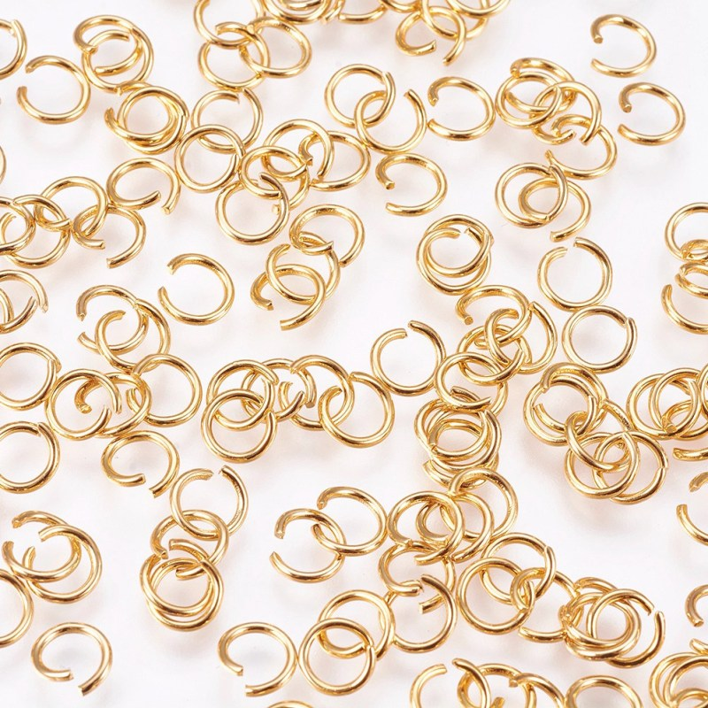 304 Stainless Steel Jump Rings Open Jump Rings Jewelry Findings For Making DIY Golden Color 4mm-10mm 200pcs/lot