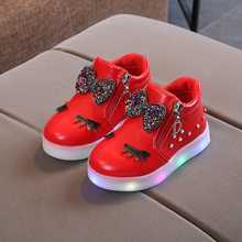 Glowing Led Shoes For Girls Spring Autumn Basket Led Children Lighting Shoes Fashion Luminous Baby Kids Sneaker Flat SEXE001(China)