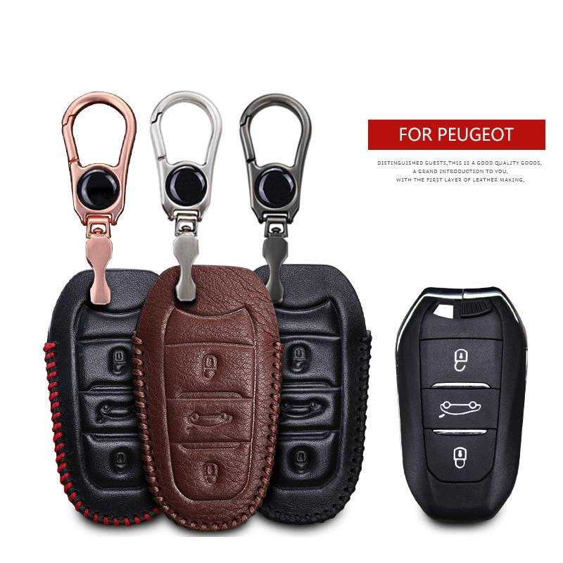 Leather Car <font><b>Key</b></font> <font><b>Cover</b></font> Case For <font><b>Peugeot</b></font> Rifter <font><b>5008</b></font> 2008 206 208 Traveller Expert 807 3008 407 SW 1007 <font><b>Key</b></font> Ring Shell Accessories image