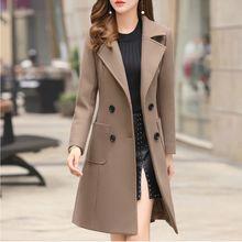 Long Slim Blend Outerwear 2019 Women Overcoat Wool Coat Autumn Winter Jacket Clothes x
