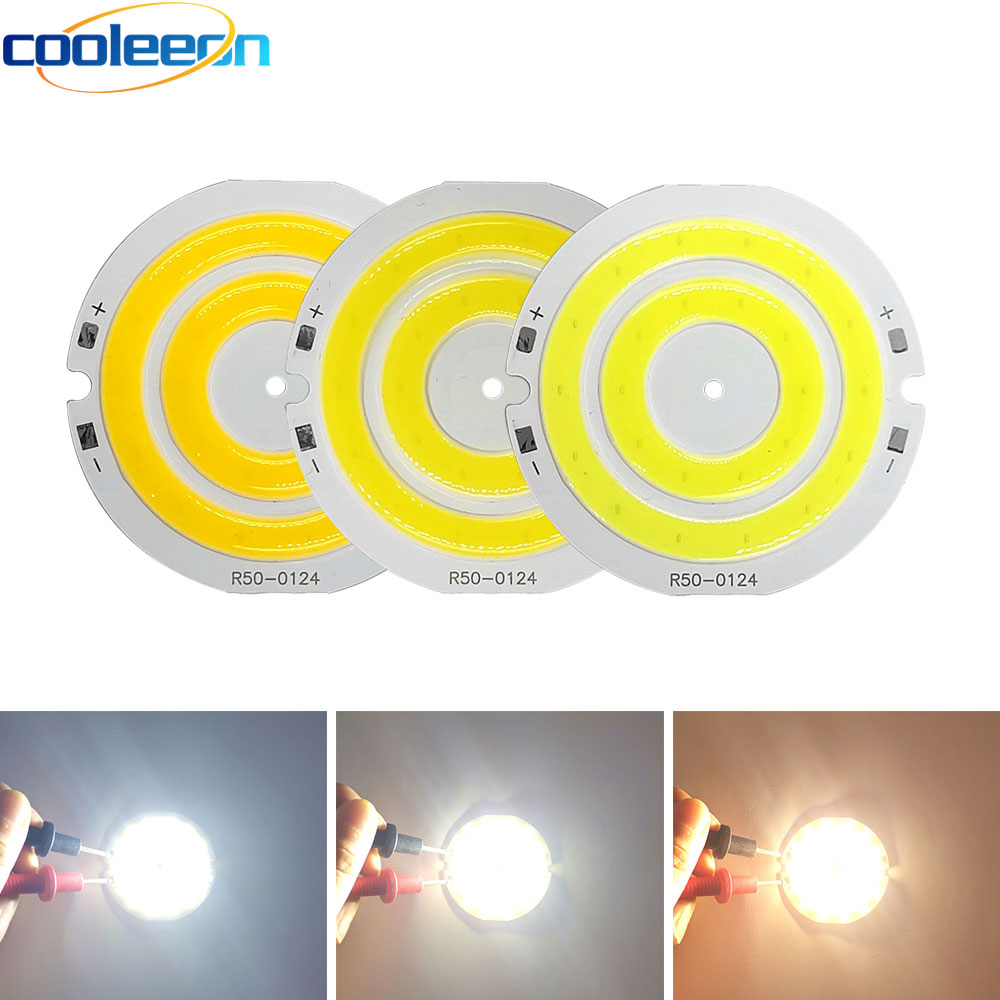 <font><b>3V</b></font> 4V Round COB <font><b>LED</b></font> Light 50mm Diameter Double Ring Cold White <font><b>LED</b></font> <font><b>Lamp</b></font> 3.7V 5W 7W COB Chip Bulb for DIY Work House Decor Lights image