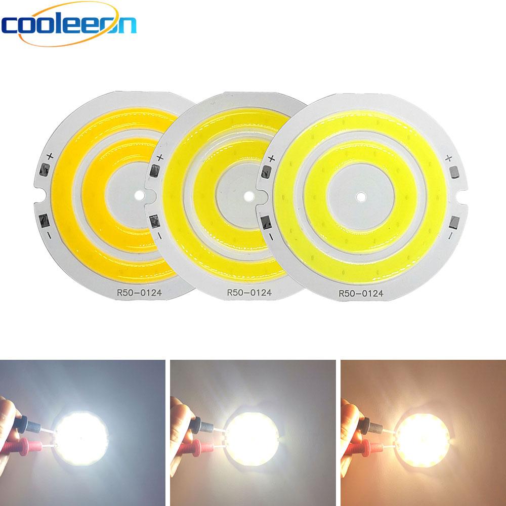 3V 4V Round COB LED Light 50mm Diameter Double Ring Cold White LED Lamp 3.7V 5W 7W COB Chip Bulb For DIY Work House Decor Lights