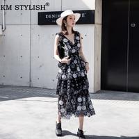 Women's Lace Dress Summer Clothings Black V Neck Sleeveless Empire Sequins Flower Layered Gauze Cake Midi Calf One piece Dress