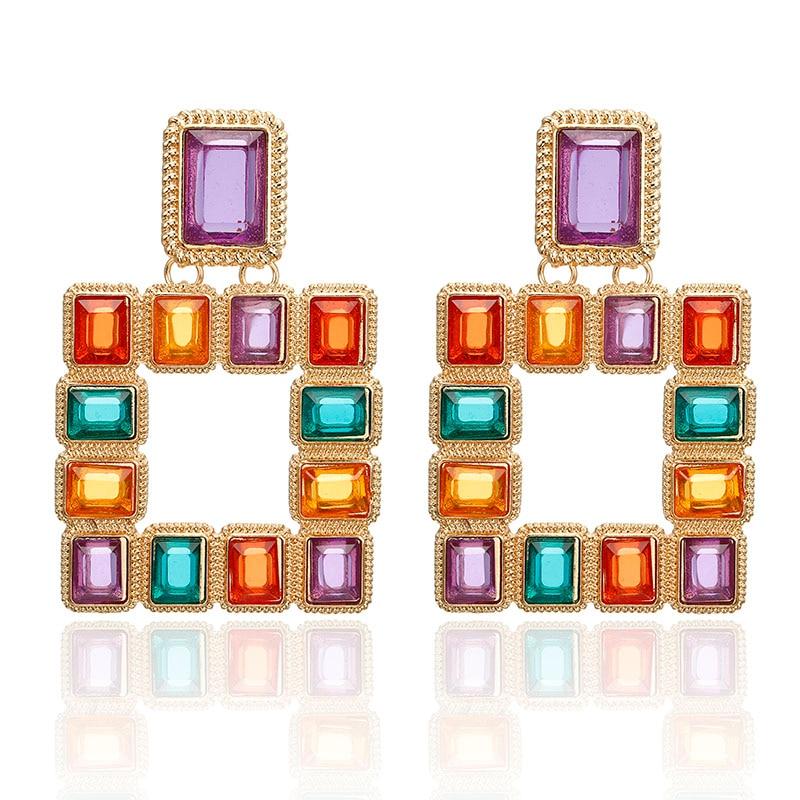 Bohème grand carré Vintage boucles d'oreilles goutte pour les femmes mode déclaration boucles d'oreilles Bijoux cadeau accessoires Bijoux en gros 6