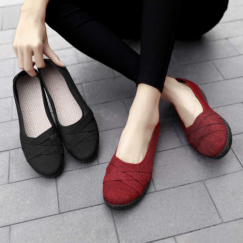 Mùa Hè Năm 2020 Mẹ Giày Nữ Phẳng Giày Slip On Lưới Khoét Hở Thoáng Khí Nữ Cho Nữ Nhẹ Nhàng Thoải Mái Nữ 01-2