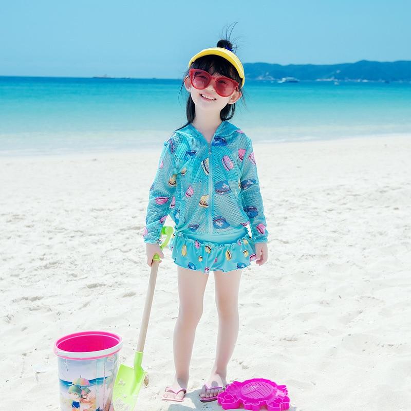 2018 New Style Split Type KID'S Swimwear Bikini Four-piece Set Sun-resistant Blouse GIRL'S Big Boy With Swim Cap