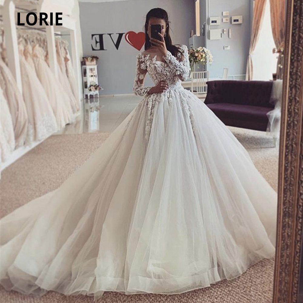 LORIE 2020 Spring Long Sleeve Tulle Wedding Dresses A Line Bohemia Beach Lace Bridal Dress Scoop Bback Button Wedding Gowns