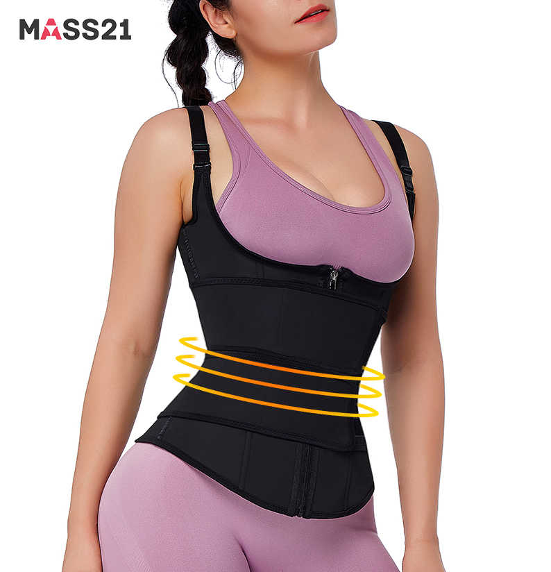 MASS21 Womens Latex Dubbele Riem Taille Trainer Latex Taille Cincher 100% Latex Taille Trainer Body Shapers Fitness Taille Fitness