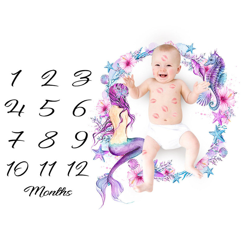 Newborn Baby Blanket Sheets Print Girls Boys Milestone For Birthday Photography Photo Props Shoots Cloth Accessories
