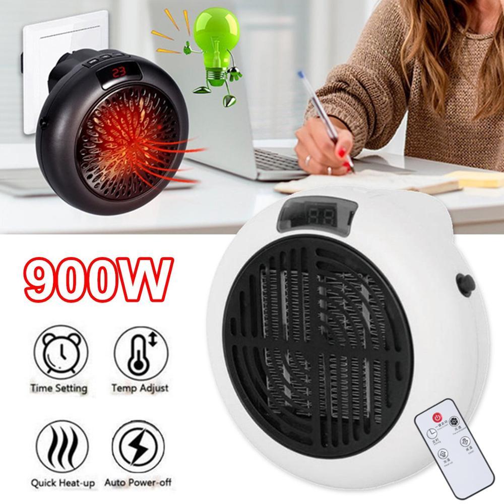 110-220V Remote Control Portable Electric Heater 900W Mini Fan Heater Household Wall Handy Heating Stove Radiator Warmer Winter