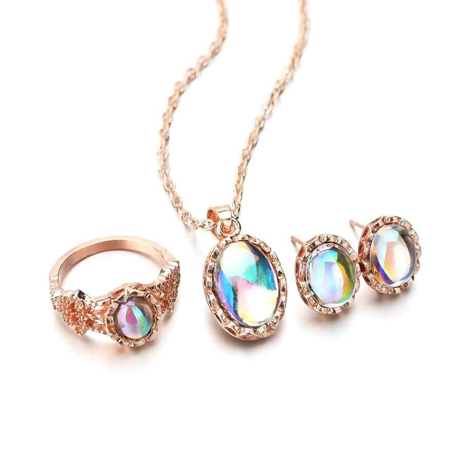 Opal Ring Necklace Ear Studs Set Chain Choker Necklaces Rings Suit Women Earrings Jewelry Set Wedding Promise Ring Sets Women
