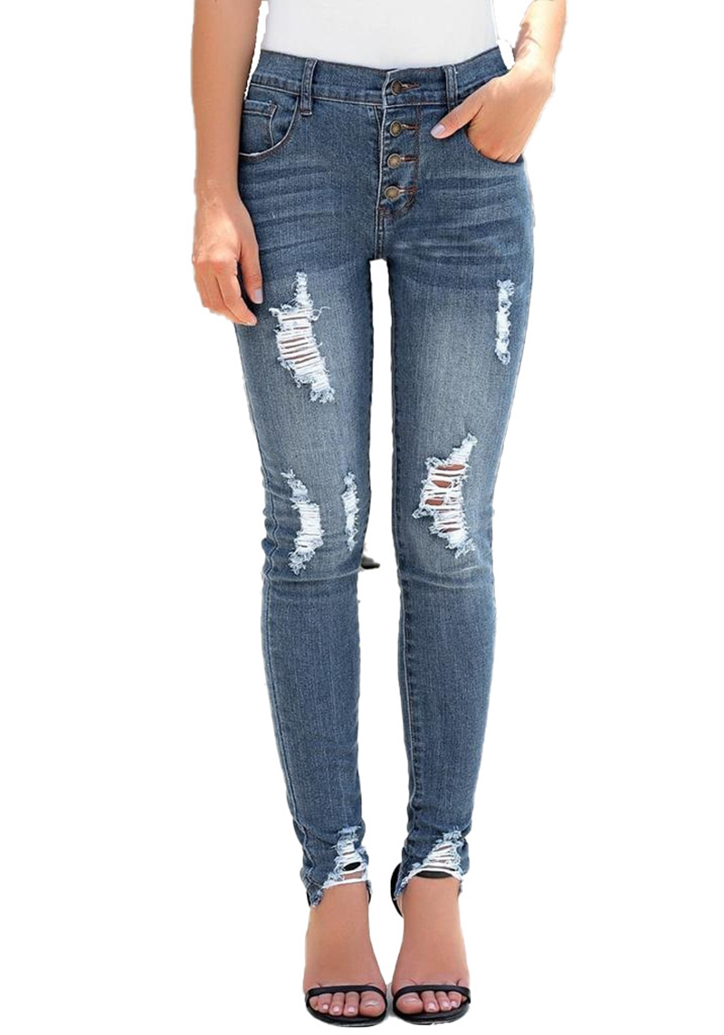 High Waist Ripped Destroyed Women Jeans Stretch Skinny  Push Up Washed Jeans Femme 2020 Mom Jeans Denim Vintage Trousers Jeans