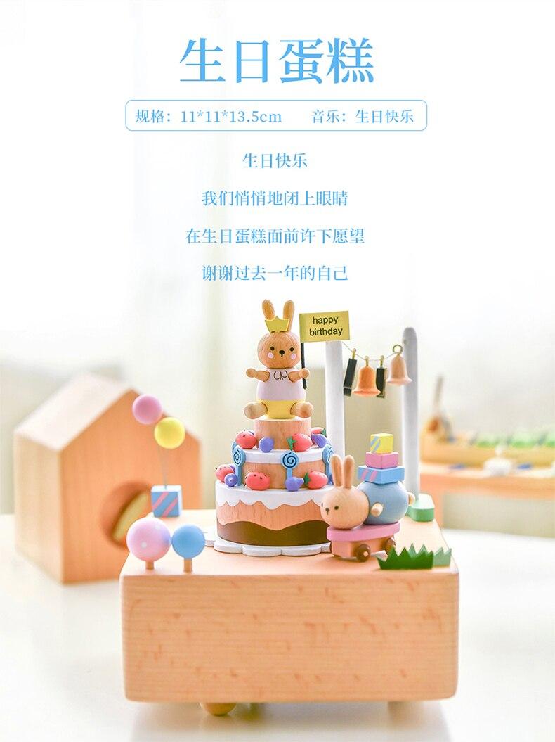 ano novo presente de aniversário natal carrossel caixa de madeira