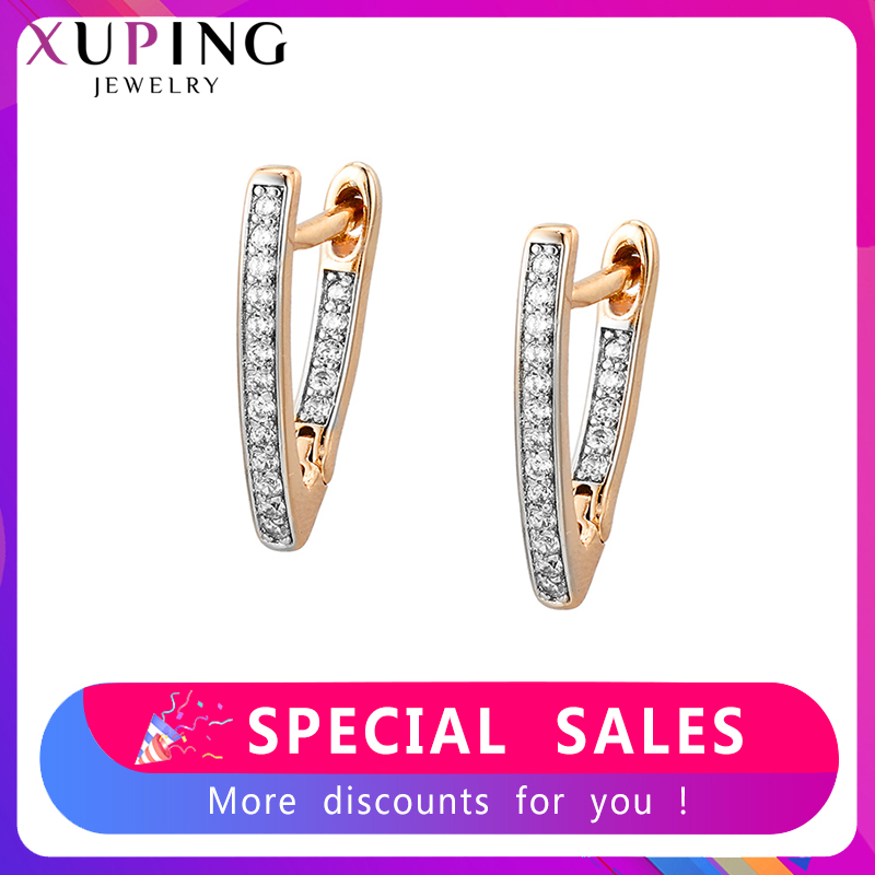 Xuping Hoop Earrings For Women Charms Styles Jewelry Elegant Party Temperament Birthday Family Gift SS8.2-80534
