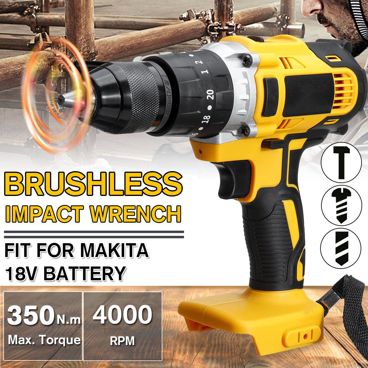 3 In 1 18V Brushless Electric Cordless Impact Drill 13mm Rechargable Electric Screwdriver Drill For Makita Battery 18V