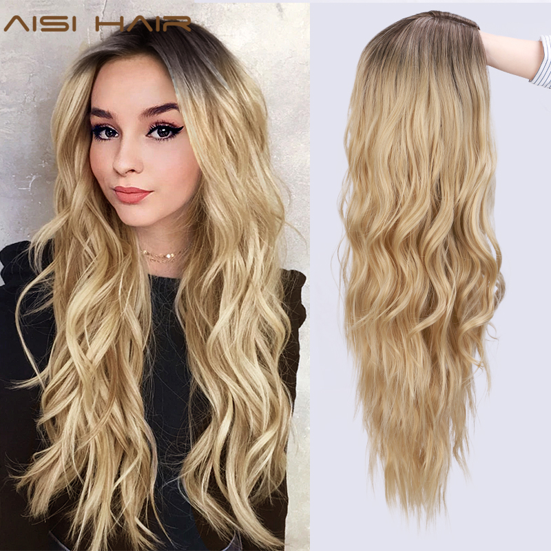 Blonde Wig Aisi-Hair Middle-Part Long-Wavy Natural African American Ombre Women Two-Tone title=