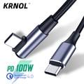 100W PD Тип USB C до USB C кабель под прямым углом провода для Macbook Mobie 5A типа C для быстрой зарядки шнур 90 градусов для быстрой зарядки