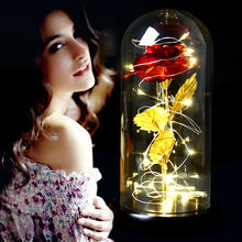 Креативная имитация цветка розы светодиодный светильник с стеклянной