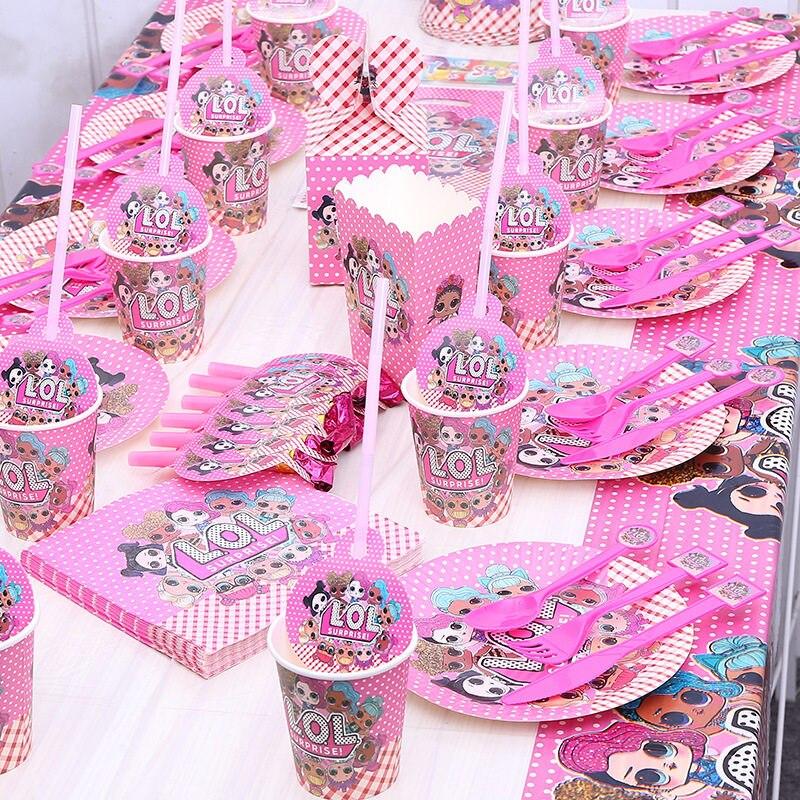 Lol Dolls Sorpresa Vajilla Desechable Niños Decoración Para Fiesta De Feliz Cumpleaños Vaso Plato Y Servilleta Banner Paja Cuchara Suministros Para
