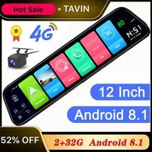 цена на DVR 12 Inch 4G Android 8.1 Rearview Mirror Car DVR HD 1080P GPS WIFI ADAS Dash Cam Dual Lens Auto Recorder Car Camera Buletooth