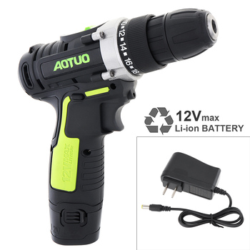 AC 100 - 240V Cordless 12V Electric Drill / Screwdriver with Li-ion Battery and Two-speed Adjustment Button for Handling Screws voto ac 100 240v cordless 12v electric drill screwdriver with adjustment switch and two speed adjustment button for punching