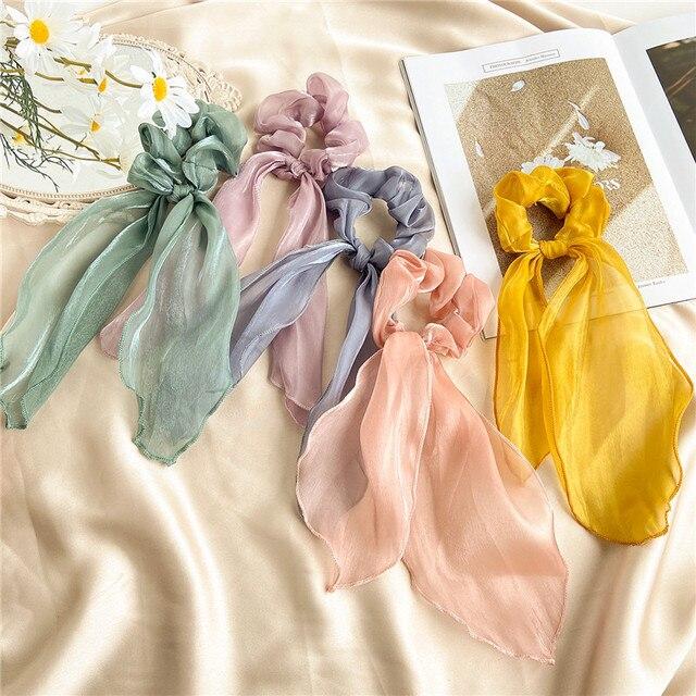 Bohemian Floral Spot Long Hair Scrunchies Hair Ribbon Elastic Hair Bands Hair Accessories Ponytail Hair Scarf For Women 4