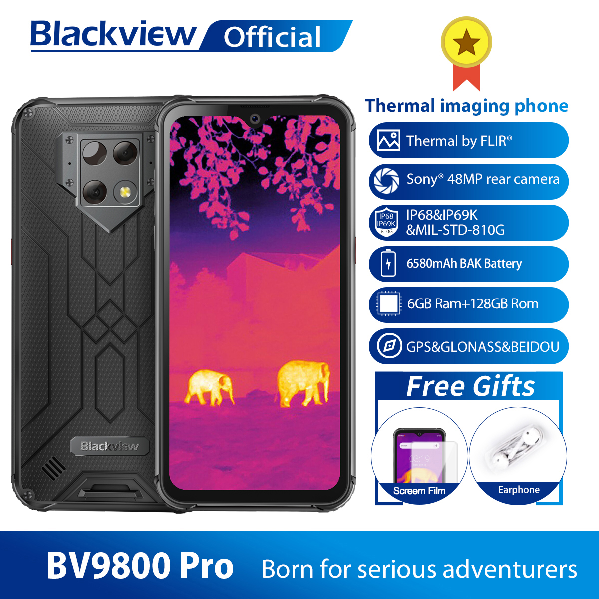Blackview BV9800 Pro Thermal Camera Mobile Phone Helio P70 Android 9.0 6GB+128GB IP68 Waterproof 6580mAh Rugged Smartphone 1