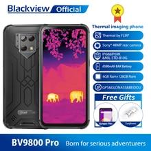 Blackview BV9800 Pro كاميرا حرارية الهاتف المحمول Helio P70 أندرويد 9.0 6GB + 128GB IP68 مقاوم للماء 6580mAh هاتف ذكي متين