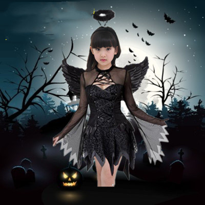 Fashion Halloween Devil Dress Girls Cool Dress  Black  Angel Wings Headpin Sets Children Cosplay Performance Dresses Gift