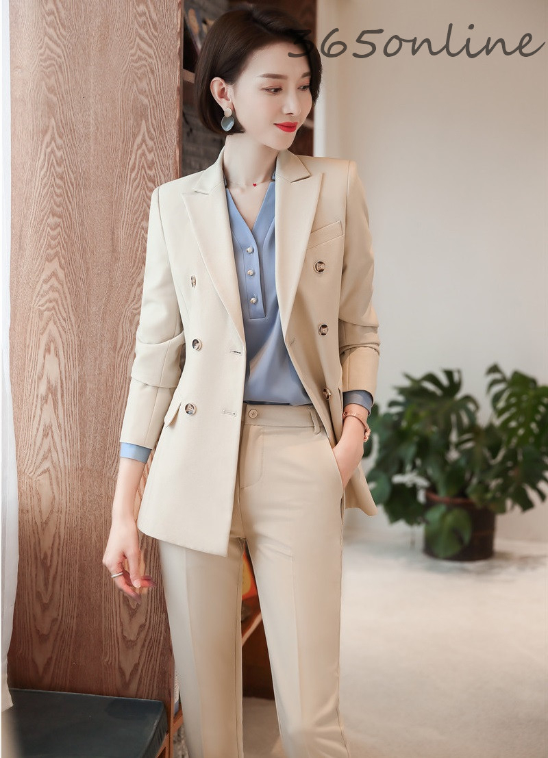 High Quality Fabric Novelty Apricot Ladies Pantsuits Formal Women Business Suits With Pants And Jackets Autumn Winter Blazers