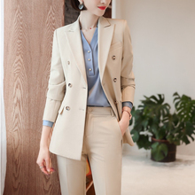 High Quality Fabric Novelty Apricot Ladies Pantsuits Formal Women Business Suits