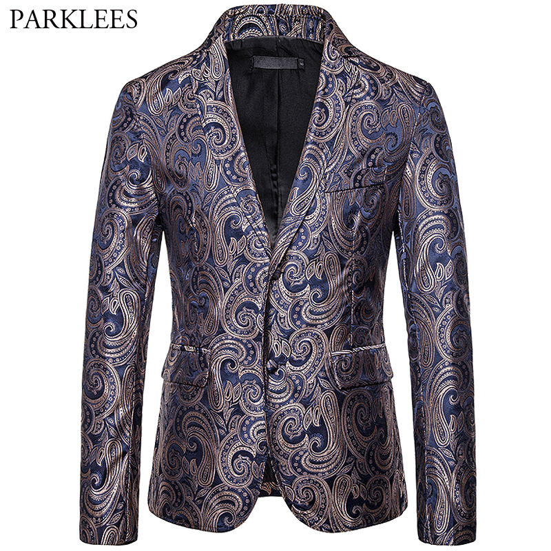 Men's Suit Jacket Cashew Flower Design Two-Buttons New Leisure Party Blazer Jacket Men Nightclub Stage Singer Clothes Costumes
