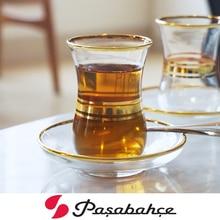 Professional Turkey Black Tea Cup Saucer Set Hand Painted Trace Gold Glass Bohea Teacup Special Coffee Espresso Mug Tazas Xicara